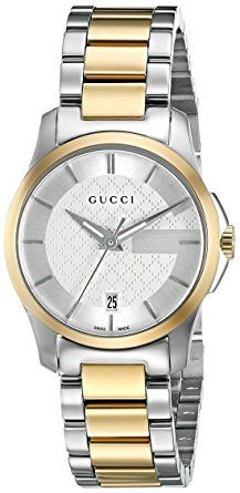 Gucci Women's Swiss Quartz Stainless Steel Dress Watch, Color:Two Tone (Model: YA126531) - Swiss Made ETA quartz movement; Sapphire with anti-reflective coating inside; Swiss-quartz Movement; Case Diameter: 27mm; Water resistant to 50m (165ft: in general, suitable for short periods of recreational swimming, but not diving or snorkeling.(affiliate link)