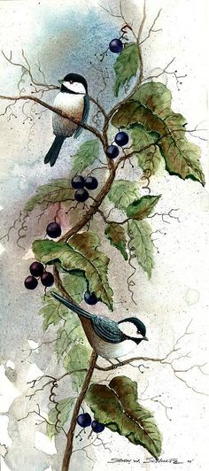 Chickadees In Grape Vine Painting Steven W Schultz