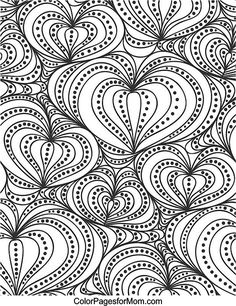 Hearts Coloring Page coloring colouring printable adult advanced detailed