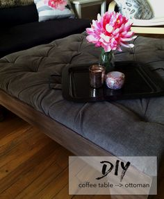 coffee table to ottoman refinish diy!