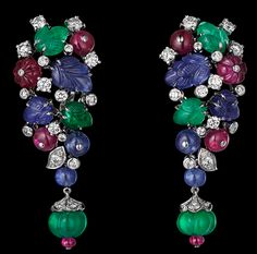 Cartier HIGH JEWELRY EARRINGS.  Platinum, sapphire, ruby and emerald beads, sapphire and emerald carved leaves, brilliants.