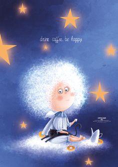 Karina Lemesheva on Behance Cute Illustration, Digital Illustration, Cartoon Drawings, Cute Drawings, Sun And Stars, Beauty Art, Cute Wallpapers, Cat Art, Illustrators