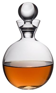 """Clear Glass Round Bottle Liquor Decanter with Stopper, 27 Ounce  Enjoy the brilliance and purity of fine quality clear glass  Airy, clean-lined glass bottle makes this decanter a classic solution for keeping liqueurs and vintages fresh  Makes a great bedside carafe; would look great in your bathroom to hold some water or mouthwash  Comes with a glass ball stopper; Hand wash only  Dimensions: 9"""" H x 6"""" dia (widest part); Capacity 27 Ounce"""