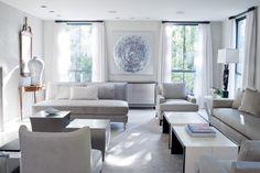 idées de décoration du salon blanc et gris clair