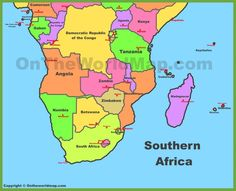 Southern Africa Map |  Anthro: Africa: Southern Africa | Pinterest