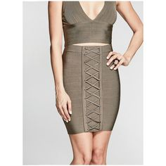 GUESS by Marciano Lynx Bandage Skirt ($98) ❤ liked on Polyvore featuring skirts, brown skirt, guess by marciano, bandage skirts, lace up skirt and stretchy skirts