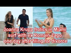 Joanna Krupa frolics in Miami surf with ex Romain Zago one day after fil...