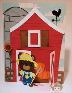 Check out the barn scene card with the pumpkins from SEPTEMBER SCENES STAND-UP CARDS.  Great dimension, bright colors and Nana adds a cute farmer bear (from a cartridge).    She really shows her artistic talent drawing the lines on the silo and the barn, great details!