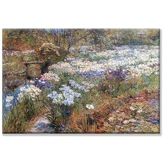 Water Garden by Frederick Childe Hassam depicts delicate flowers dancing in the…
