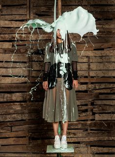 Children of the Comme  Chinese contemporary artist Ai Weiwei takes the next generation of fashion design into bright new territory through a creative collaboration with Dover Street Market and V magazine. Featuring pieces from emerging brands like Hood By Air, Craig Green, Gosha Rubchinskiy, KTZ, Shaun Samson and more, Ai Weiwei captures the models with buckets of paint poured onto their heads.