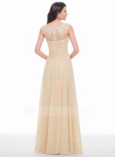 A-Line/Princess Scoop Neck Floor-Length Chiffon Tulle Prom Dress With Ruffle Beading Flower(s) (018056791) - JJsHouse