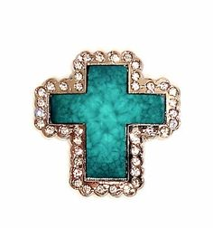 "Western Cowgirl Turquoise Green Italian Cross Rhinestone Concho Leather 1.5""  Beltsbootsbling.Com - $8.95"