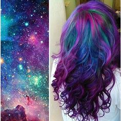 This Galaxy Hair Trend Is Out-Of-This-World ❤ liked on Polyvore featuring hair and backgrounds