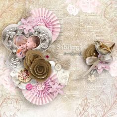 This is so sweet and feminine. I love this picture and the gorgeous scrapbook flower clustering.  Layout by norma #digitalscrapbooking #scrapbooking #memorymaking #layout #inspiration #family