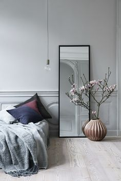 From wood furniture to attractive decor ideas, jazz up your plain bedroom with these inspiring Scandinavian bedroom interior design hacks. Grey Bedroom Design, Bohemian Bedroom Design, Bedroom Designs, Bed Design, Bedroom Furniture, Furniture Design, Bedroom Decor, Mirror Bedroom, Bedroom Ideas