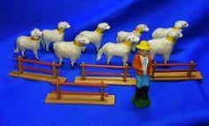 Lot of 8 Vintage German Wooly Sheep Figures with Plaster Shepherd #AO