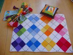 argyle mug rug mini quilt Quilting Tutorials, Quilting Projects, Quilting Designs, Sewing Projects, Quilting Ideas, Small Quilts, Mini Quilts, Baby Quilts, Patch Quilt