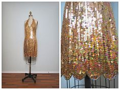 VTG Gold Sequin Dress  Gold Sequined Bridesmaid Dress  by braxae, $149.00
