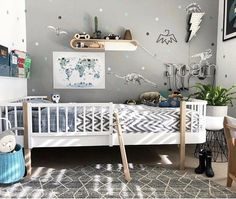 Can you imagine all the fun adventures had in this busy little boys room! pic via Nursery Rugs, Nursery Decor, Little Boys Rooms, Childrens Bedroom Decor, Kids Bedroom, Kids Wall Decals, Boy Decor, Kids Prints, Amazing Adventures