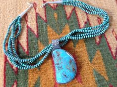 Sterling silver Burtis Blue turquoise pendant by Colorado Jewelrydude and beaded necklace by    Mardi Teller of Chinle, Az made for Susan Bandy.