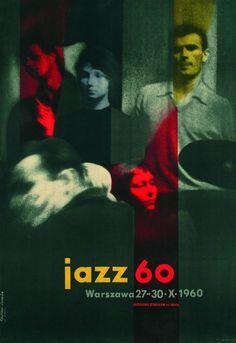 'Jazz 60: Warszawa 27-30.X.1960' poster by Polish painter & graphic designer Rosław Szaybo (b.1933). via News O.pl