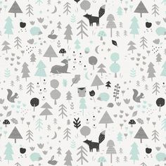 Fabric Patterns Icy Mint and Silver Gray Baby Woodland Fabric by Carousel Designs. - Icy Mint and Silver Gray Baby Woodland Fabric by Carousel Designs. Nursery Fabric, Baby Fabric, Woodland Fabric, Woodland Baby, Boys Wallpaper, Pattern Wallpaper, Kids Patterns, Print Patterns, Fabric Patterns