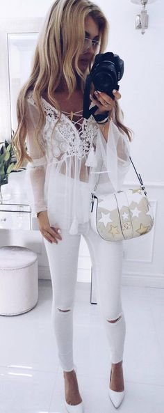 all white everything / lace brouse bag rips heels