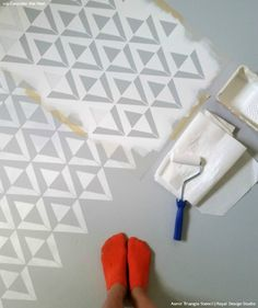 Total Home Transformation: 3 Freshly Stenciled Rooms You Need to See! (Modern Geometric Floor Stencils by Royal Design Studio)