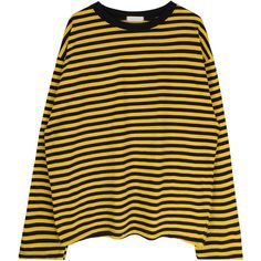 Oversized Stripe Print Top ($36) ❤ liked on Polyvore featuring tops, sweaters, striped top, stripe top, bunny top, drop-shoulder tops and oversized tops