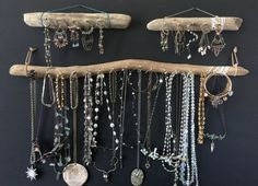 Hey, I found this really awesome Etsy listing at https://www.etsy.com/listing/222020989/driftwood-jewelry-organizer-wall-hanging Bohemian Beach Decor, Hanging Necklaces, Hanging Jewelry, Decorative Storage, Jewelry Organizer Wall, Jewelry Hanger, Jewellery Storage, Jewelry Organization, Jewellery Display
