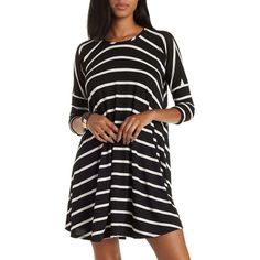Charlotte Russe Black Combo Striped Dropped Shoulder Trapeze T-Shirt... ($25) ❤ liked on Polyvore featuring dresses, black combo, swing dress, jersey dress, black trapeze dress, black swing dress and striped shift dress