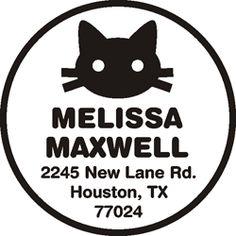 Maxwell w/ cat custom address stamp