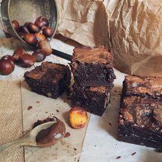 Brownie mármol de chocolate y castañas