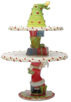 Amazon.com | Appletree Design Mrs. Claus Stackin' It Up Cake Stand Set, 15-3/4-Inch, Set of 3: Cake Stands