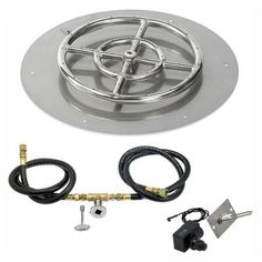 American Fire Glass 18 in. Round Stainless Steel Flat Pan with Spark Ignition Kit - Natural Gas in. Ring Burner - The Home Depot Fire Pit Insert, Fire Pit Ring, Belly Button Jewelry, Fire Glass, Gas Fires, Stainless Steel Rings, Gifts For Teens, Flat Pan, Shapes