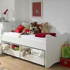 Loving this reversible kids twin bed with toy box underbed #storage