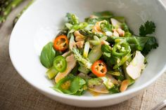 NYT Cooking: Asparagus and Smoked Chicken Salad With Ginger Dressing