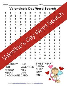 A free printable Valentine's Day word search for kids.