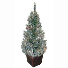 General Foam, 4 ft. Pre-Lit Potted Frosted Pine Artificial Christmas Tree with Berries and Pine Cones, HD-E141C1F at The Home Depot - Mobile
