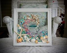 This Sea Glass Wave Art wall hanging is the perfect addition for any beach home or beach bathroom. Sitting in a pure white frame, this seashell wave measures approximately 12 x 12.  All the shells are attached with resin, to the clear glass, which bonds and adds the illusion of water droplets. There Bathroom Wall Art, Bathroom Beach, Blue Wall Decor, Heart Wall Art, Wave Art, Coastal Wall Art, Glass Art, Sea Glass, Window Art