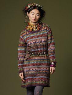 Top Seller ~Kaffe Fassett's Fair Isle Lydia dress kit pattern knitted in Rowan Felted Tweed yarns Knitted with with 11 colors of Rowan's Felted Tweed yarn. Felted Tweed is a very soft, long-time favorite blend of merino wool, alpaca and viscose Motif Fair Isle, Fair Isle Pattern, Knit Skirt, Knit Dress, Dress Skirt, Tweed Dress, Moda Crochet, Knit Crochet, Fair Isle Knitting