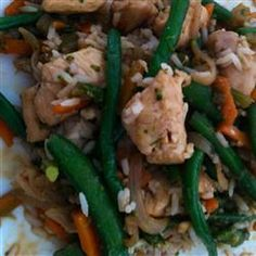 Frozen Vegetable Stir-Fry--brown chicken first, and serve over rice. YUM!