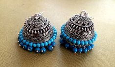 Turquoise Earrings,Large SILVER Jhumkas,Ethnic ,Dome earrings, Silver tribal Jhumkis,Indian Jewelry ,handmade artisan Jewelry by Taneesi by taneesijewelry on Etsy
