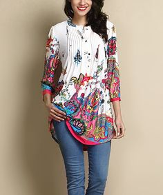Another great find on #zulily! White Paisley Notch Neck Pin Tuck Tunic by Reborn Collection #zulilyfinds