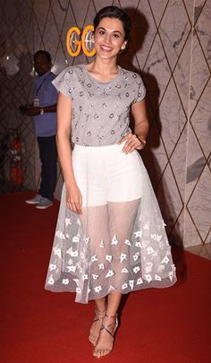 Taapsee Pannu in a Zara t-shirt, Babita Malkani skirt, and Koovs sandals