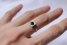 Little Stacking ring with lab created gem in black by aforfebre