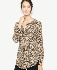Ann Taylor Petite Cheetah Print Tie Waist Tunic Blouse #ad #style #petite