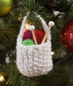 Knit Basket of Yarn Ornament Free Knitting Pattern in Red Heart Yarns