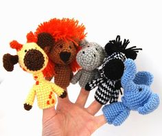 5 finger puppet crocheted lion giraffe elephant zebra by crochAndi, $32.00