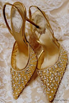Rene Caovilla - gold pointed toe slingback evening shoes embellished with crystals #shoegame...x